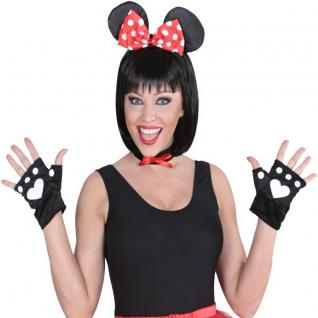 3 tlg MAUS KOSTÜM SET Minnie Mouse Ohren Haarreif, Halsband, Handschuhe #740M