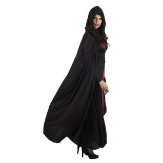 Damen Kostüm UMHANG MIT KAPUZE 180cm - Halloween Karneval Venedig Vampirin #936