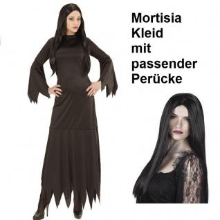Hexe Mortisia KLEID MIT PERÜCKE Damen Kostüm - Gothic Zauberin Addams Halloween