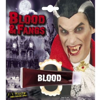 VAMPIR GEBISS und gelantines BLUT Party Make-up Fasching Karneval 4031D
