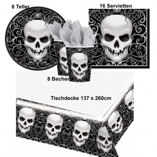 TOTENKOPF Fright Night Halloween Party Set - Teller Becher Servietten Tischdecke