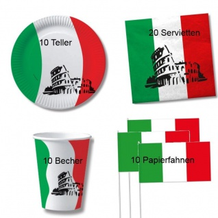50 tlg.ITALIEN Party Deko Set - Becher Servietten Teller Fahne - Italia