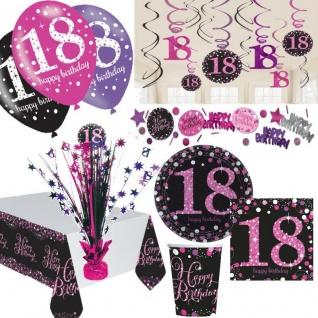 18. Geburtstag Dekoration mit Zahl 18 Deko Geburtstag Party Tisch pink schwarz
