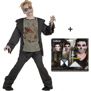 ZOMBIE Kinder Kostüm + MAKE UP SET Horror Halloween Grim Reaper 128-164 NEUHEIT