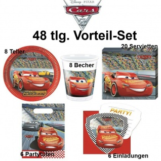 Disney CARS 48 tlg. Vorteil-Set Kinder Geburtstag Party Deko - Teller Becher