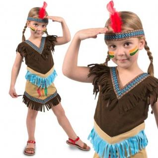 Indianerin Kostüm Gr. 116 122 128 Indianer Mädchen Kleid Kinder Karneval #3207