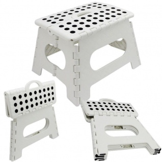KLAPPHOCKER - WEISS - Steighilfe klappbar Sitzhocker Klappstuhl bis 150 kg