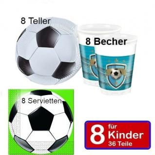 FUSSBALL Party Set - Teller Becher Servietten -für 8 Kinder zum Geburtstag - jtl