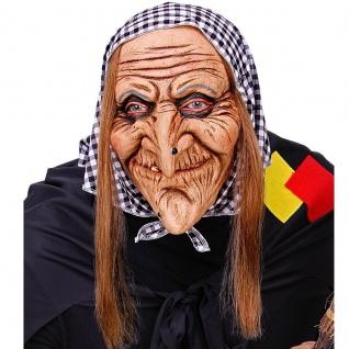 Schrumpelhexe Maske Hexe aus Latex mit Haube Halloween Hexenmaske Fasching #292