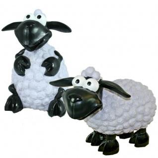 2er Set Lustige Schafe Molly sitzend & stehend - weiß -Deko Figur Haus & Garten