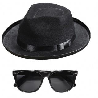 Blues Brothers Set Hut und Brille Kostümset für Fasching Kostüm #5715