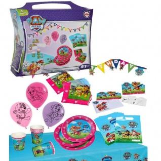 XXL Party Koffer 51 tlg. PAW PATROL Geburtstag Set für Mädchen Becher Teller etc