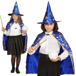 Zauberer UMHANG mit HUT Kinder Kostüm für Jungen & Mädchen - Karneval Fasching