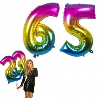 65.Geburtstag XXL FOLIENBALLON Zahl 86cm Regenbogen bunt Helium Luftballon