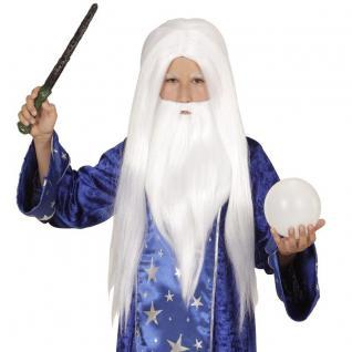 Kinder Langhaar Perücke Bart Weiß Hexer Zauberer Beschwörer Magier #4600