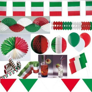 ITALIEN PARTY DEKO grün weiß rot AUSWAHL Tischdeko Girlanden Fahnen