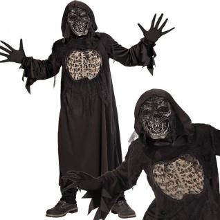 DÄMON ZOMBIE Skelett Kinder Kostüm Gr. 140 Robe m.Kapuze Handschuhe Maske #7847