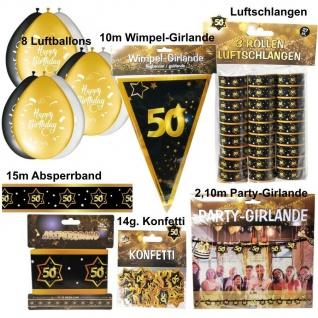 50. Geburtstag Großes Deko Set - 50 Jahre Deko Party Schwarz Gold Jubiläum Set1