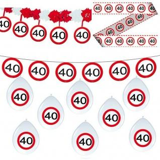 40. Geburtstag 11 tlg Deko Set Party 40 Verkehrsschild Girlande Luftballon Set 6
