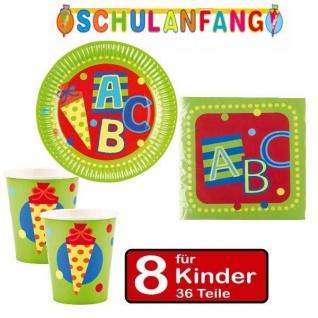 36 tlg. Set (A) Schulanfang Einschulung Party -Teller Becher Servietten 8 Kinder