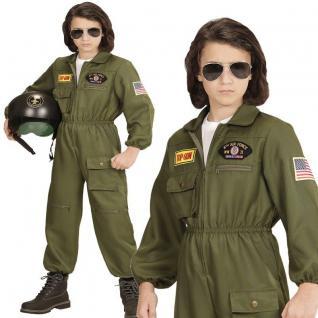 Jet Pilot TOP GUN Kampfjet Kinder Kostüm - Jungen Karneval Fasching 128 - 164