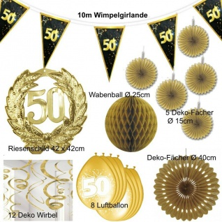 50. Geburtstag 39 tlg. Party Deko Set Goldene Hochzeit - GOLD - Jubiläum - Set 9