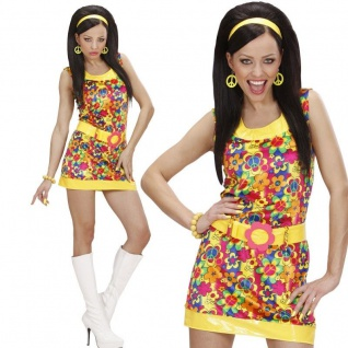70er HIPPIE SAMTKLEID Damen Kostüm 34/36 (S) Peace & Love Motto Party #7326
