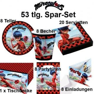 53tlg. Spar-Set LADYBUG MIRACULOUS Kinder Geburtstag Party Deko Teller Becher