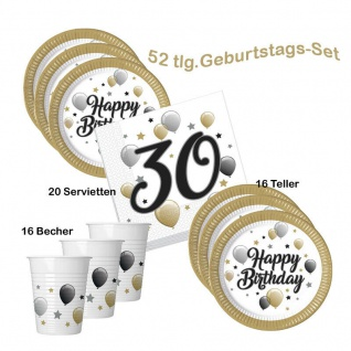 30. Geburtstag Happy Birthday Party Set (2) 16 Teller 16 Becher 20 Servietten