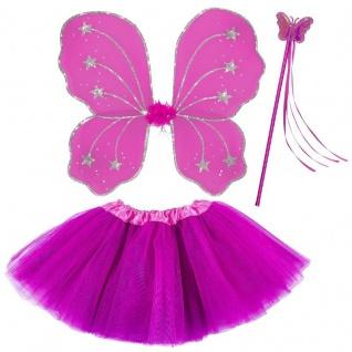 3tlg. Feen Kostüm Set Pink - Tüllrock Flügel Zauberstab - Schmetterling Set