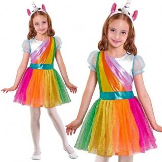 Einhorn Kleid mit Haarreif Kinder Kostüm Größe: 140 - Karneval Fasching
