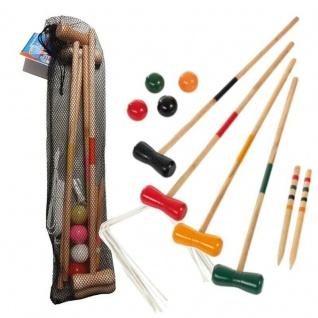 Krocket Spiel für 4-Spieler Kinder Croquet Gartenspiel Holz Spiel Outdoor #74026