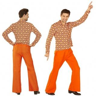 70er Disco Hippie SCHLAGHOSE orange + HEMD Rhombus - Herren Kostüm Schlagermove