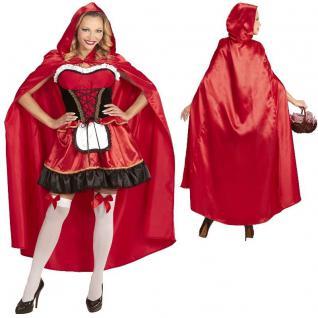 Sexy Rotkäppchen Märchen Damen Kostüm - rot/schwarz - Kleid mit Umhang -