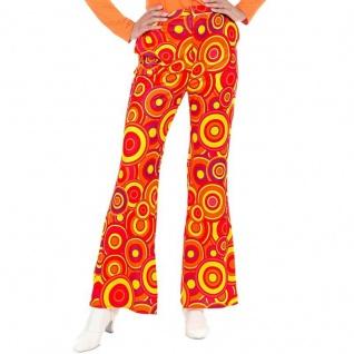 Schlaghose Damen Kostüm -bubbles orange- Hippie Schlagermove 36 38 40 42 44 46