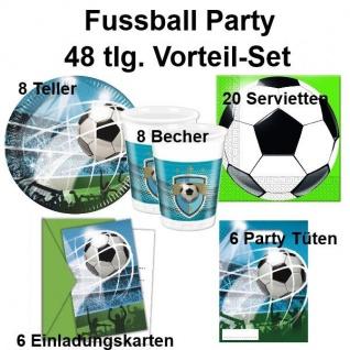 48 tlg. Vorteil-Set FUSSBALL Taktik Kinder Geburtstag Party Deko Teller Becher
