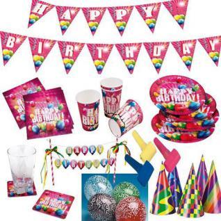Happy Birthday Geburtstag Party Deko RIESENAUSWAHL Teller, Becher Girlande etc