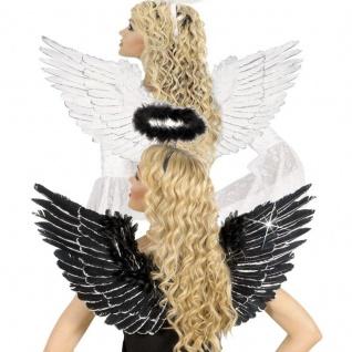 WOW FEDER FLÜGEL weiß oder schwarz mit SILBERGLITTER Engelsflügel Engel Kostüm