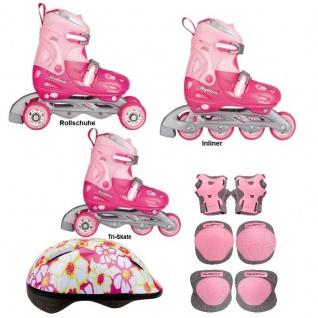 3 in1 Kinder Mädchen Inlineskates Triskates Rollschuhe Nijdam Pink verstellbar