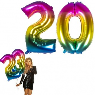 20.Geburtstag XXL FOLIENBALLON Zahl 86cm Regenbogen bunt Helium Luftballon