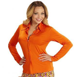 70er Jahre Damen BLUSE orange - Kostüm Zubehör Schlager Hippie Motto Party S-XL