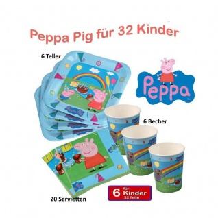 Peppa Pig Wutz Set 1 für 6 Kinder Geburtstag Teller Becher, Servietten Peppa Pig