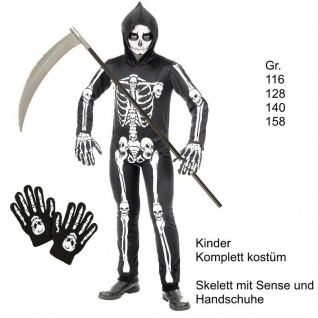 Skelett Tod Kinder Kostüm mit Sense und Handschuhe - Komplett-Set Halloween