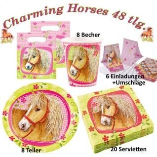 Charming Horses 48 tlg. Set Kinder Geburtstag Party Deko, Tischdecke, Teller,