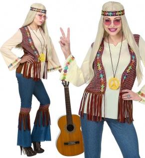 Hippie Damen Kostüm 46/48 XL Schlaghose Jeans 60er 70er Jahre Flower Power 0711