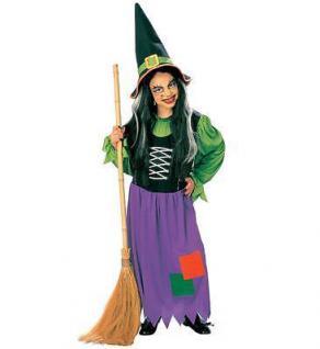 Mädchen Hexen Kostüm + Hut, tolle Farben Gr.128 140 158 Halloween Karneval 3857