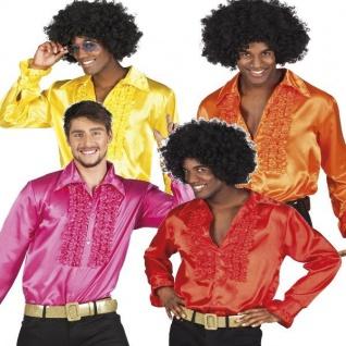 70er 80er Herren Rüschenhemd gelb, orange, rot, pink Disco Schlager Party Hemd