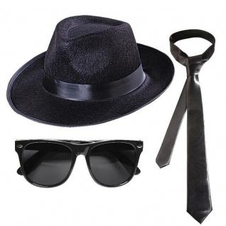 BLUES BROTHERS GANGSTER SET Hut + Brille + Krawatte Kostüm Mafia Karneval