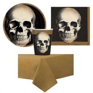 TOTENKOPF Halloween Grusel Party Set - Teller Becher Servietten Tischdecke