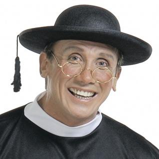Hut Priester Pastor für Kostüm Pfarrer schwarz Kirche Karneval #2812